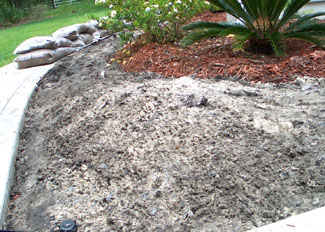 Mound of sand to prepare for cactus garden.  Photo by Stibolt