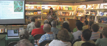 A good group came to hear Ginny speak at to buy her book.