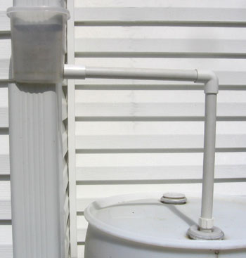 Completed diverter system on a single rain barrel.  Photo by Stibolt.