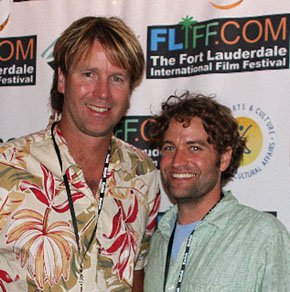 Paul Tukey and Brett Plymale accepting film award in Ft. Lauderdale.
