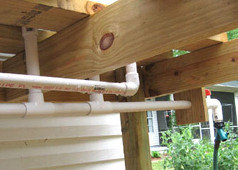 1-inch pipes connect together and on to a pvc spigot. Photo by Stibolt.
