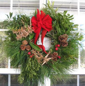 Christmas wreath made from cuttings from Ginny's yard.  Photo by Stibolt